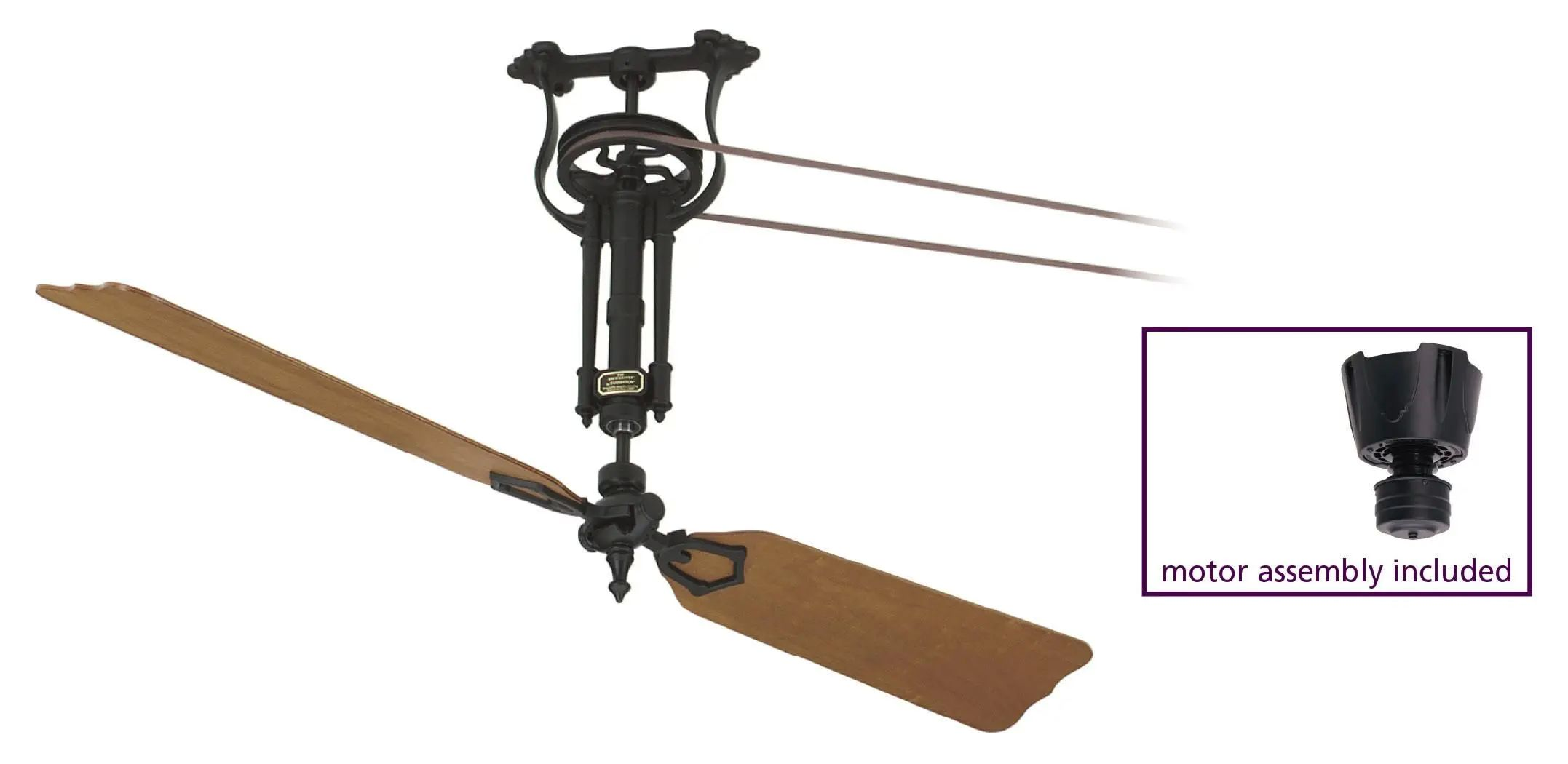 Fanimation Single Brewmaster Long Neck Belt Drive Ceiling Fan in Black