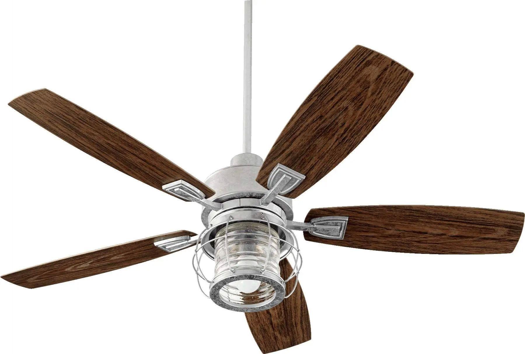 Quorum Galveston Outdoor Ceiling Fan In Galvanized
