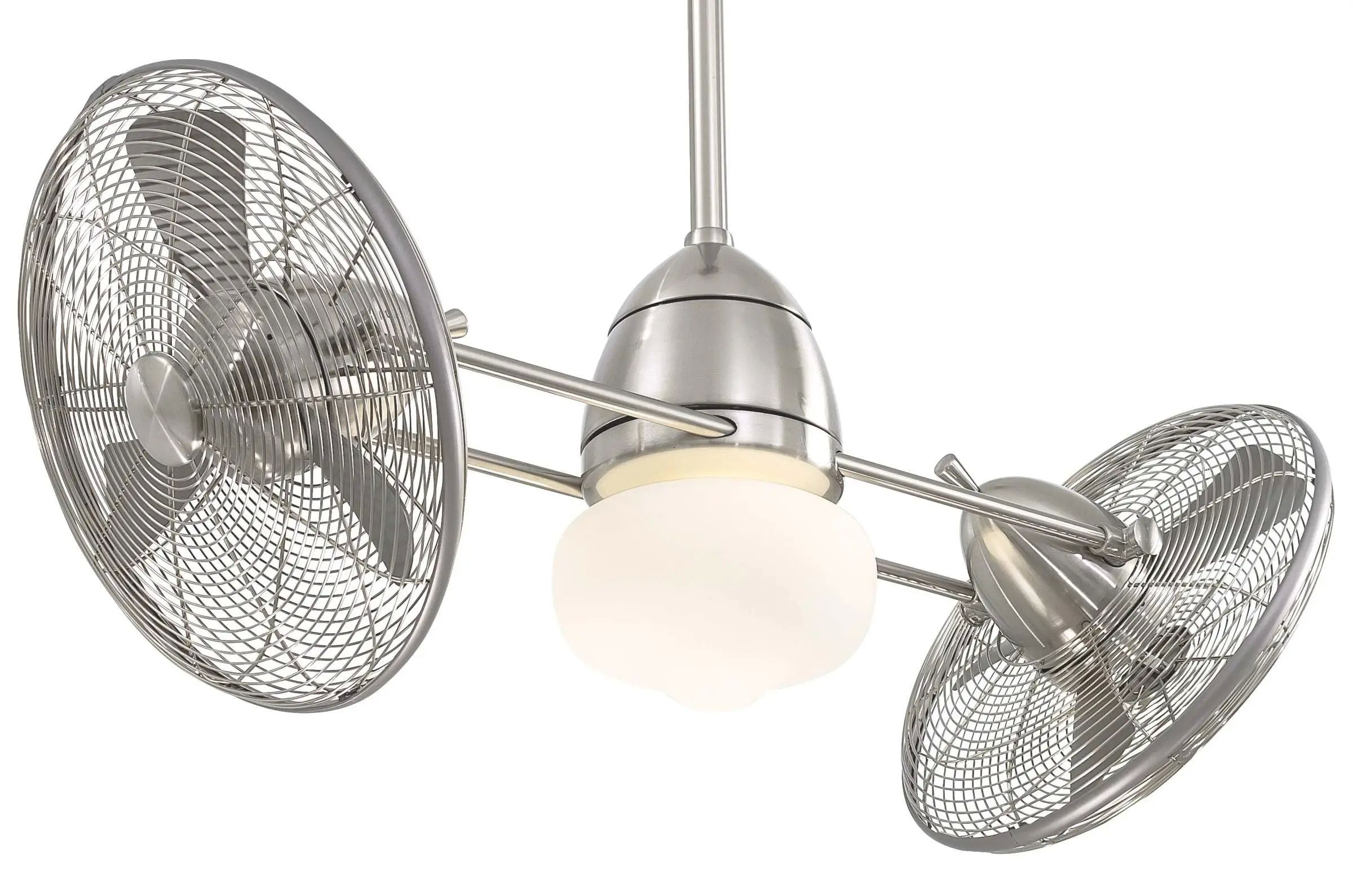 Minka Aire LED Gyro Outdoor Fan - Brushed Nickel Wet